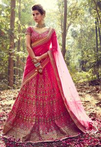 Pure Bhagalpuri Silk Sequins Work Lehenga in Fuchsia