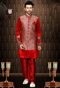 Woven Art Silk Jacquard Sherwani in Red