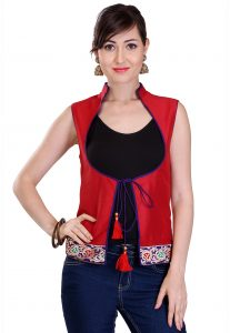 Woven Patch Border Cotton Silk Jacket in Red