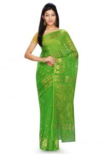 Bengal Handloom Cotton and Silk Jamdani Saree in Green